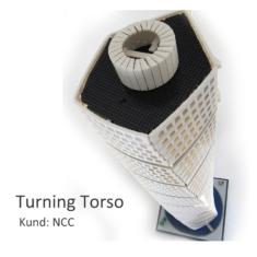 Exteriörmodell av Turning Torso på uppdrag av NCC