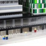 Fysisk modell av arkitektritning skapad av lego