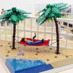 Relaxande arbetare av LEGO i dustins legomodell
