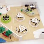 Översikt över kontorslandskap i LEGO prototyp modell– Dustin
