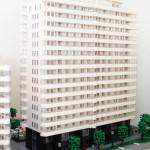 Arkitektur modell av LEGO över Skanskas Kv. Domherren
