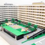 Arkitektur-modell av LEGO över Skanskas Kv. Domherren