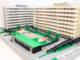 Arkitekturmodell av LEGO över Skanskas Kv. Domherren