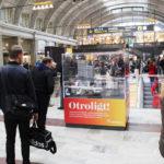 Monter med Citybanans modell av LEGO på stockholms centralstation