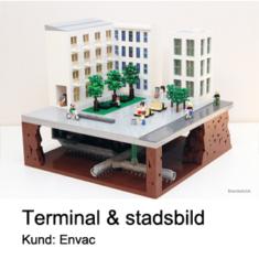Modell av lego Envac Avfallshantering