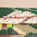 Landskapsvy i lego prototyp som visualiserar fyrspår mellan Märsta och Uppsala