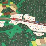 Översikt uppifrån på lego-prototyp som visualiserar fyrspår mellan Märsta och Uppsala