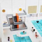 Legomodellen illustrerar även trapphus i detalj