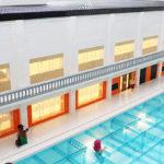 Visualicerar utsikt i LEGO modell över Järfälla simhall