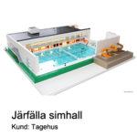 LEGO modell av Järfällas nya simhall i sin helhet