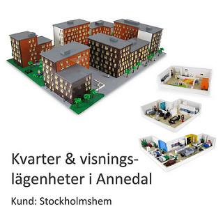 Översiktsmodell över exteriören och interiören av LEGO
