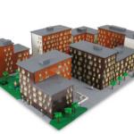 Exteriora arkitekturen av LEGO Annedal