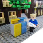 Exteriören av Annedal som legomodeller