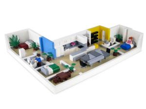 Interioeren visualiseras som legomodell