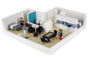 Interiören av lego visar insidans arkitektur