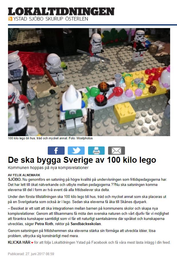 De ska bygga Sverige av 100 kilo LEGO - Lokaltidningen Sjöbo